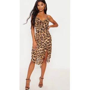 NWT Pretty Little Thing leopard print midi dress
